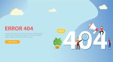 error 404 page not found website template with people vector