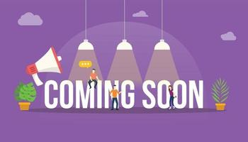 coming soon big word text with people team around vector