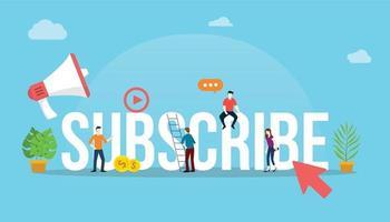 suscribirse canal concepto de video de redes sociales vector