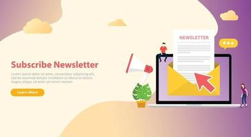 subscribe newsletter concept with team working together vector