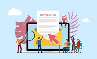 subscribe newsletter with people working together vector