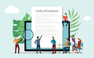 code of conduct team people work together on paper vector