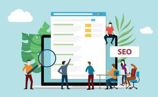 seo search engine optimization with office team people vector