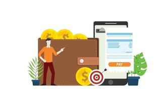 mobile online payment technology with business man vector