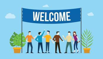 welcome sign board welcomes concept with business team people vector