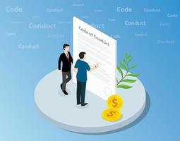 isometric code of conduct concept with business man standing together vector