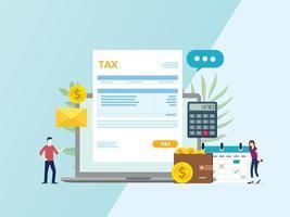 Pago de factura fiscal online con documento en papel vector