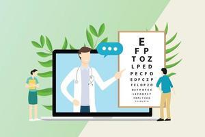 Consulta de oftalmólogo con médico y paciente. vector