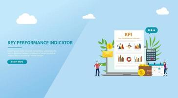 banner de sitio web de concepto de indicador clave de rendimiento de kpi vector
