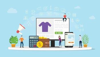 comercio electrónico compras en línea con personas compran vector