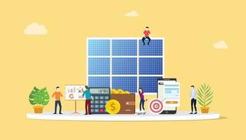 solar panel energy business electric saving financial vector