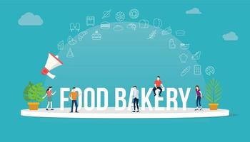 food bakery concept with team people working together vector