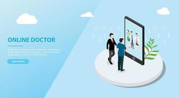 online doctor app service for website template banner vector