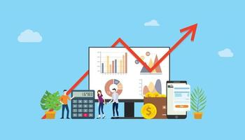 digital marketing budget financial campaign for advertising team vector