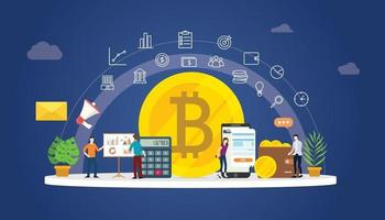 bitcoin cryptocurrency digital money business with gold coin vector