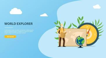 people explore and adventure the world website template vector