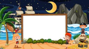 Pirate kids at the beach night scene with an empty banner template vector