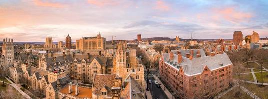 Historical building and Yale university campus from top view photo