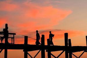 U Bein bridge, Myanmar with sunset photo