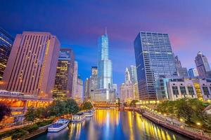 Downtown chicago skyline cityscape in USA photo