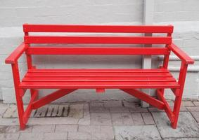 Red bench outdoor photo