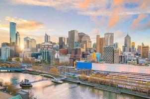Melbourne city skyline at twilight photo