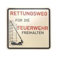 signo alemán aislado sobre blanco. forma de emergencia para el departamento de bomberos foto