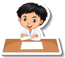Boy in scientist outfit writing on empty desk vector