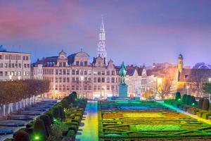Brussels cityscape from Monts des Arts at twilight photo
