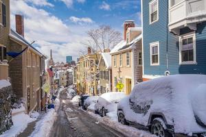Houses in historic Bunker Hill area after snow storm in Boston photo