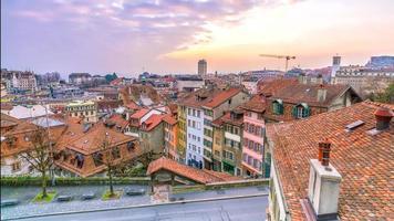 Downtown Lausanne city skyline in Switzerland photo