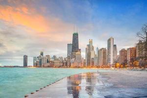 Downtown chicago skyline at sunset Illinois photo