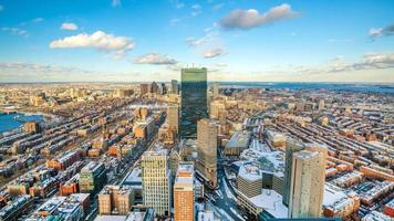 Aerial view of Boston in Massachusetts, USA at sunset photo