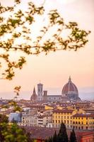 Duomo and Florence city downtown skyline cityscape of  Italy photo
