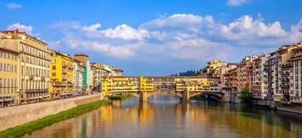 Ponte Vecchio and Florence city downtown skyline cityscape of  Italy photo