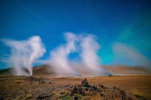 Iceland landscape at night with aurora photo