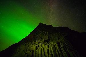 Northern Lights above black sand beach in Vik photo