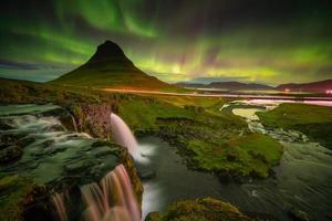 northern light over Kirkjufell mountain photo