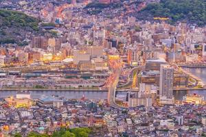 Beautiful Panorama Aerial View of Nagasaki Skyline at night photo