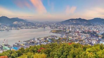 Nagasaki city downtown skyline cityscape in Kyushu Japan photo
