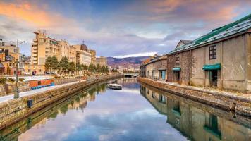 Cityscape of Otaru, Japan canal and historic warehouse, Sapporo photo