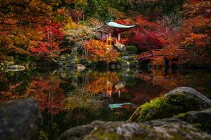 Famous Daigoji temple with autumn red color leaves in Kyoto photo