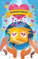cartel del día mundial humanitario con caja de ayuda vector