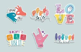 paquete de pegatinas coloridas de lenguaje de señas vector