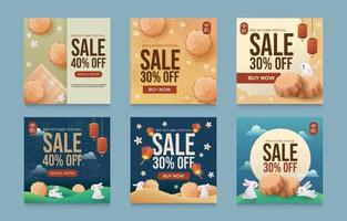 Set of Mid Autumn Sale for Social Media Post vector