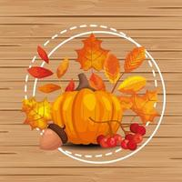 background wooden with autumn leafs and fruits vector