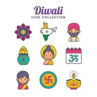 Diwali Festival Icons Collection vector