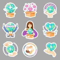 Set of Humanitarian Day Stickers Collection vector