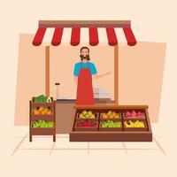 Shop seller man vector design