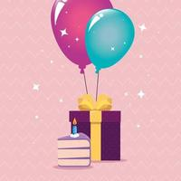 Happy Birthday gift cake and balloons vector design